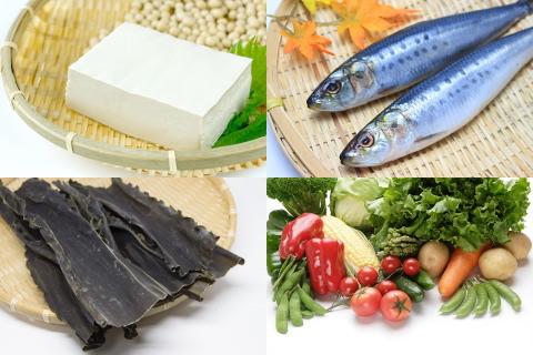 魚、大豆、野菜、海藻を豊富に使った和洋折衷の献立